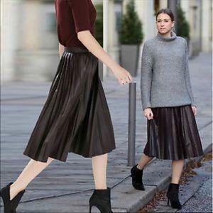 Zara Leather Pleated Skirt Size XS